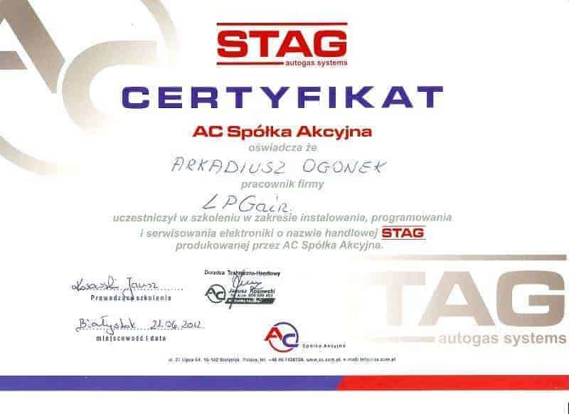 certyfikat potwierdzający uprawnienia do montażu instalacji LPG Stag firmy AC