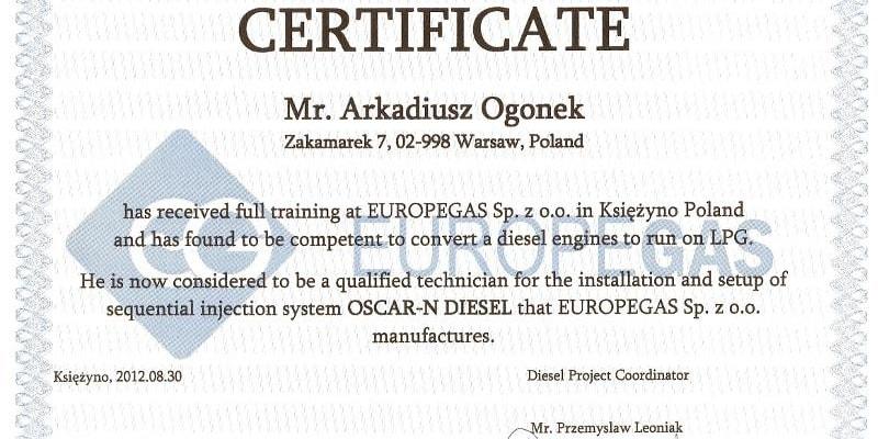 certyfikat ukończenia szkolenia montażu instalacji gazowych w silnikach Diesla