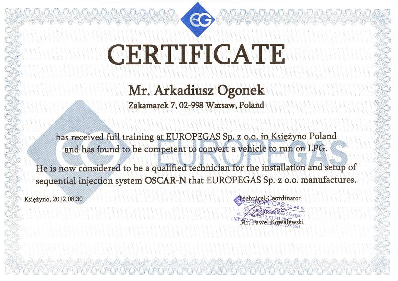 certyfikat odbycia szolenia z regulacji instalacji gazowych firmy EuropeGas