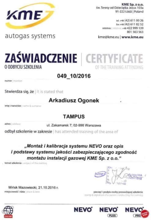 Zaświadczenie o ukończeniu kursu na temat instalacji LPG firmy KME
