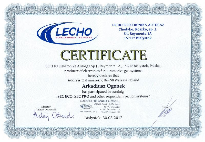 dokument ukończenia kursu montażu instalacji gazowych w firmie LECHO