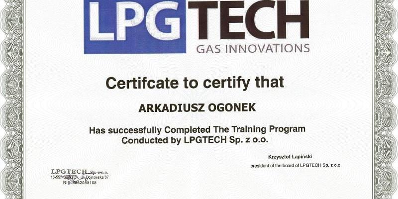 zaświadczenie o odbyciu kursu na temat regulacji i montażu instalacji gazowych firmy LpgTech