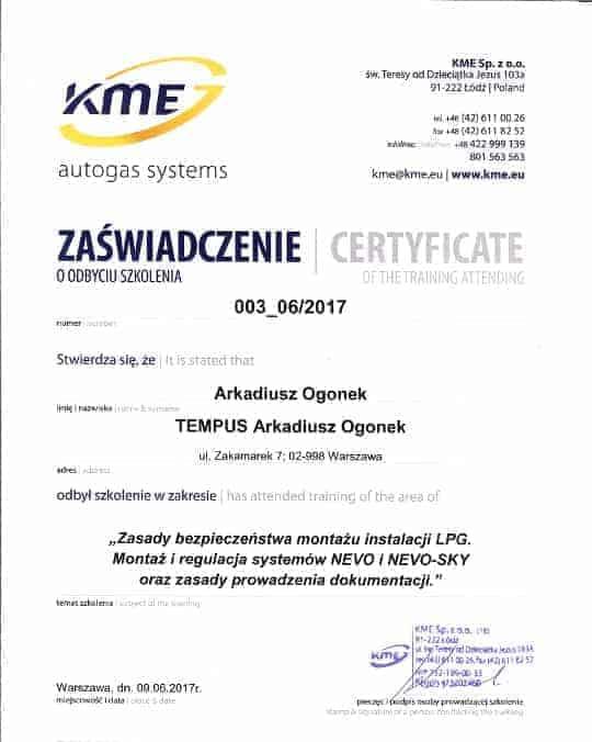 Zaświadcenie o odbyciu szkolenia KME Nevo Direct