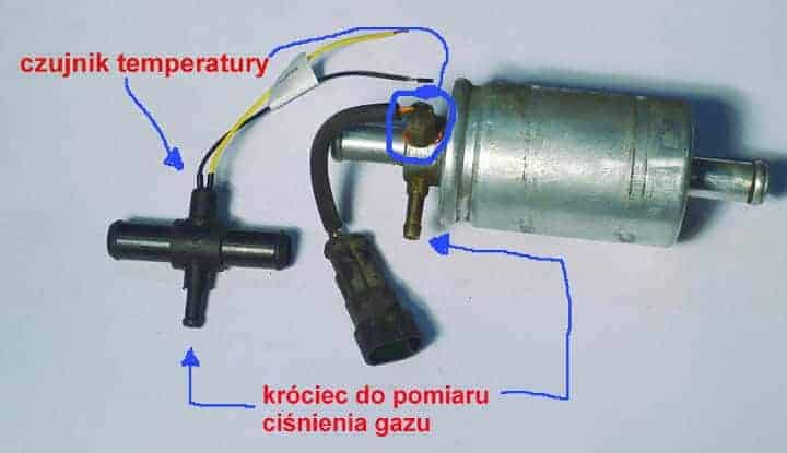 filtr gazu fazy lotnej lpg i trójnik pomiarowy lpg
