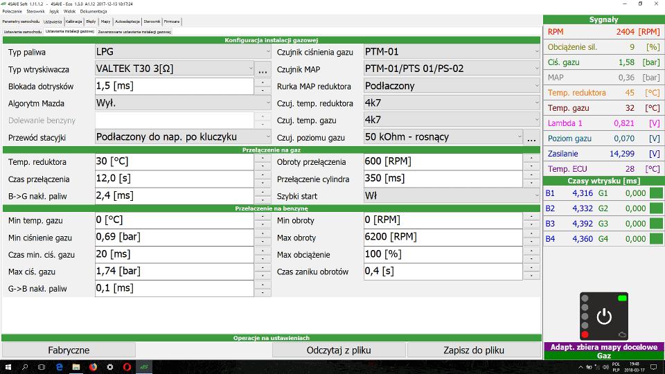 4Save Soft ustawienia instalacji lpg