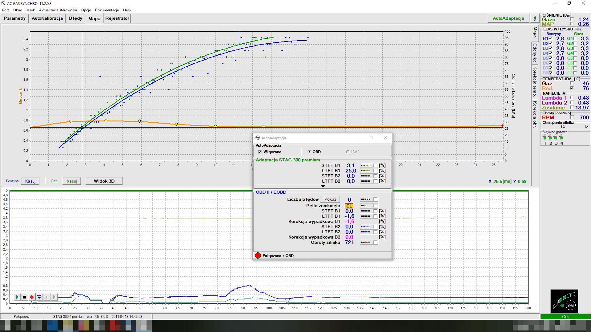 Korekty OBD w sterowniku lpg AC Stag