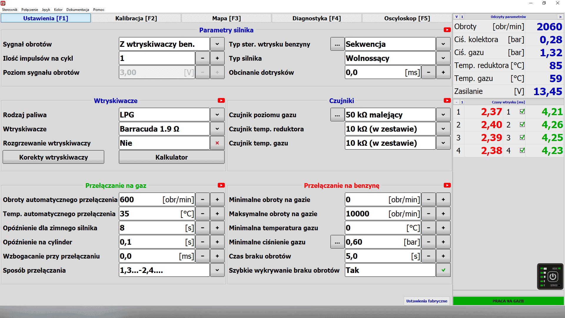 Optima Pico program do konfiguracji instalacji gazowej LPG